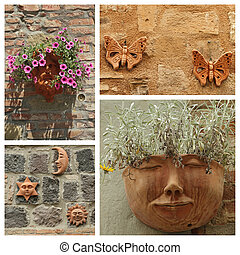 images of group with terracotta decorative trinkets, Italy
