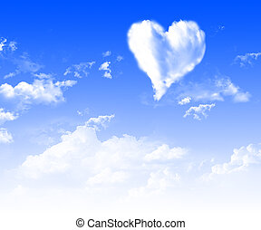 images of hearts in the blue sky against a background of...