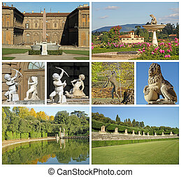 images of Pitti Palace and historic gardens of Medici in Florence
