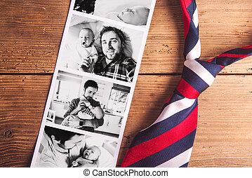 images, pères, prise vue., père, son., day., studio, bébé