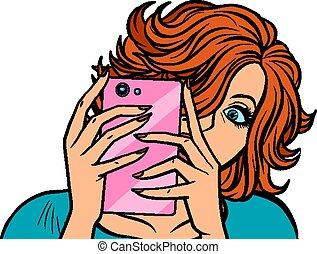 images, prendre, femme, smartphone