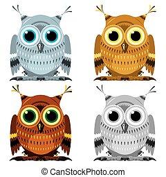Images set of owls