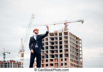 images, site construction, smartphone., ingénieur