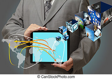 images, tablette, ruisseler, toucher, concept