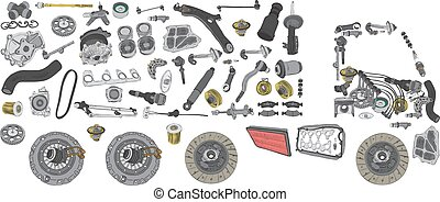 Images truck assembled from auto spare parts