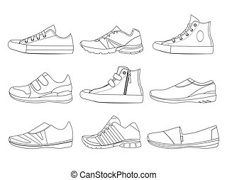 images, vecteur, chaussures, bottes, style., espadrilles, adolescent, illustrations, linéaire