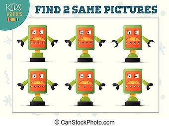 images, vecteur, deux, trouver, jeu, gosses, même, ...