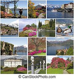 images with fantastic landscape of lake Como in spring time, Lom