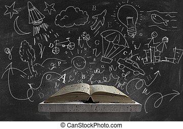 imaginação, e, livro