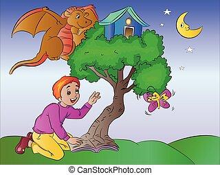 imaginação, menino, ilustração