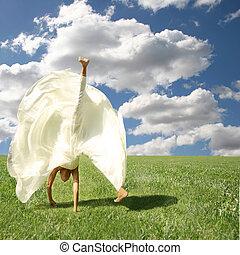 imaginación, libre, libre, outdoors:, sentimiento, voltereta