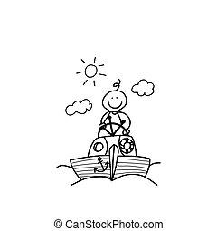 imaginación, mano, dibujo, caricatura