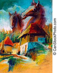 imaginación, paisajes, rural
