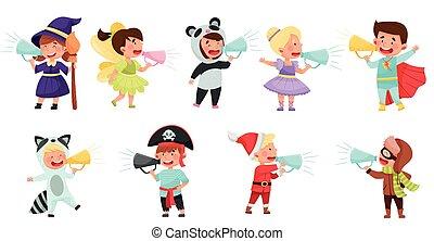imaginación, vector, megáfono, o, niño, hablar, conjunto, ...