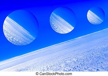 imaginario, planetas, espacio, de, fantasía