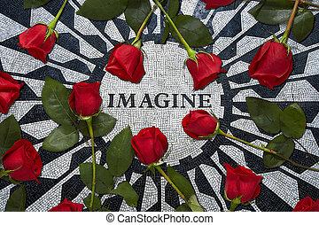 imaginarse, tributo, a, juan, lennon, en, ciudad nueva york