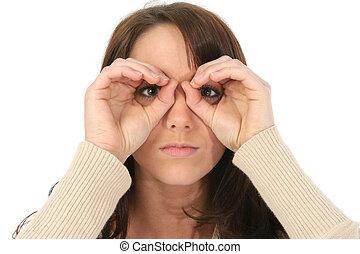 Imaginary Binoculars - Beautiful young woman makeing...