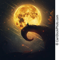 Imaginary night view with a lone man silhouette sitting on the edge of a peak against full moon and starry sky. Surreal place inspired by the nightmare before christmas scenes. Magic dreamland concept