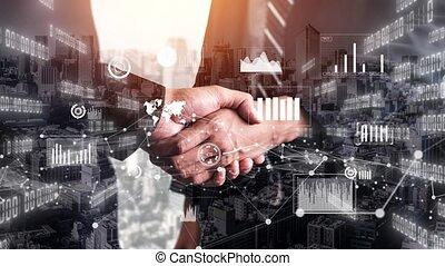 imaginatif, données, graphique, poignée main, informatique, visuel, business, investissement