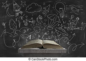 Imagination and book - Concept of imagination reading a book