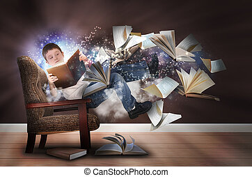 A young boy is reading a book floating in space with glowing stars. There are books and paper flying up around him for an education concept.