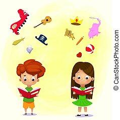 Boy and girl reading a book and objects flying out