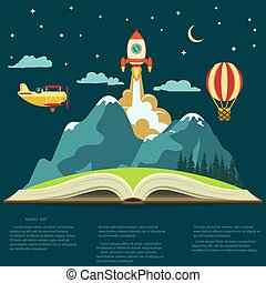 Imagination concept, open book with a mountain, flying...