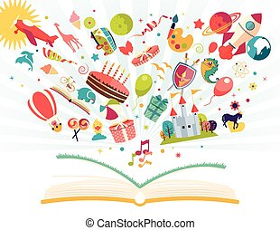 Imagination concept - open book with air balloon, rocket,...