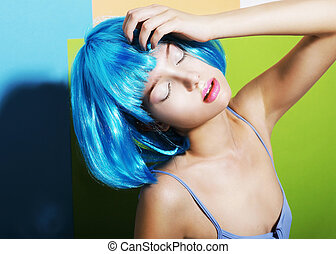 imagination., göndör hajú, furcsa, nő, alatt, cián, artsy, peruke