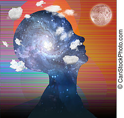 Head in clouds contains space
