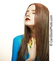 imagination., jovem, modelo moda, com, luminoso, coloridos, makeup., glamor
