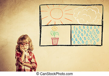 Imagination - Kid looking out of the drawn open window on...