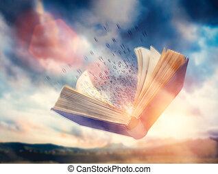 imagination, lettres, voler, ouvert, book., écoulement