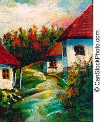 Imagination rural landscapes - Autumnal imagination scene -...
