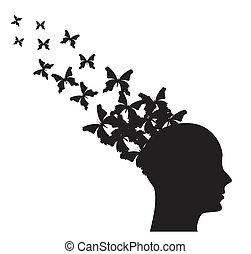 Silhouette of man with butterflies flying. vector illustration