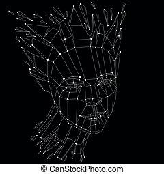 imagination., tête, séparément, créé, intelligence, éclats, lignes, poly, figure, idées, vecteur, noir, exploser, automne, allégorie, portrait, blanc, 3d, mesh., pensées, bas