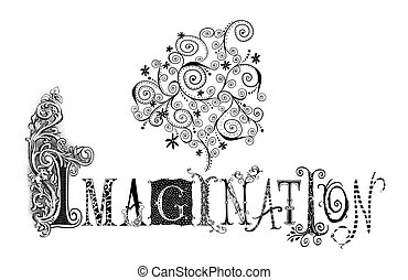 Imagination Typography Illustration - Fanciful pen...