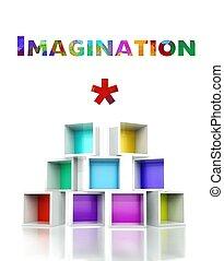 Imagination with colorful 3d design illustration