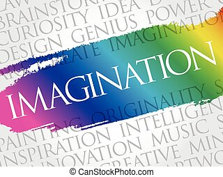 Imagination word cloud collage, creative business concept ...