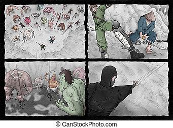 Imaginative comic page illustration