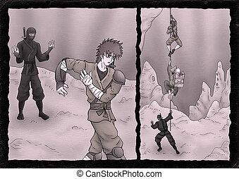 imaginative comic scene illustration