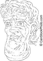 imaginative head illustration
