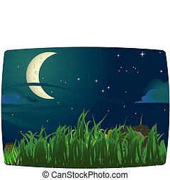 Imaginative night scenery, ideal for a peaceful background, each elements on separate layers. Radial and linear gradients used.