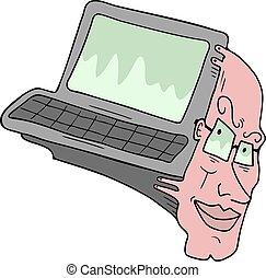 imaginativo, computadora, humano