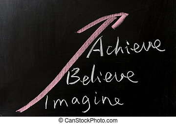 Imagine, believe and achieve - conceptional chalk drawing