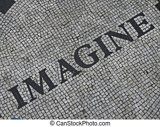 Imagine - mosaic for John Lennon at the Strawberry fields in...