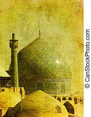 imam, irán, vendimia, imagen, isfahan, mezquita
