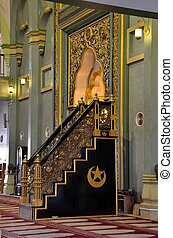 Imam pulpit Sultan mosque Singapore - The minbar or Muslim...