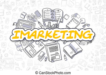 Imarketing - Doodle Yellow Word. Business Concept.