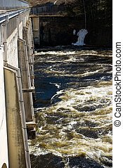 Imatra hydroelectric power station and Vuoksi river. Finland
